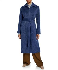 Arrow Season 08 Felicity Smoak Blue Woolen Coat