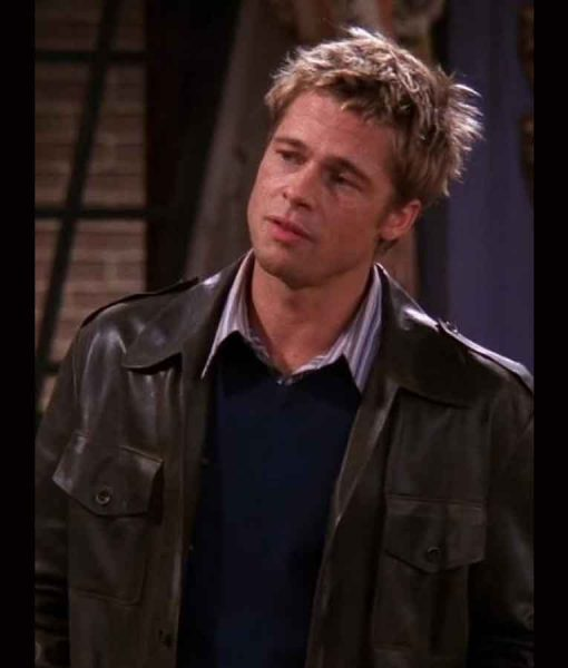 Brad Pitt FRIENDS Season 08 Dark Brown Leather Jacket