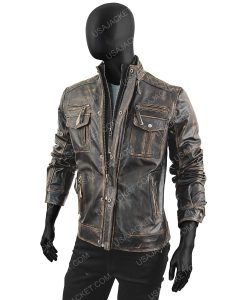 Double Collar Mens Brown Genuine Leather Jacket 2