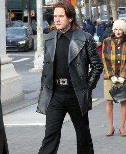 Ewan McGregor Black Leather Mid-length Coat