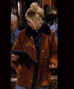 FRIENDS Phoebe Buffay Suede Leather Jacket With Black Fur Collar