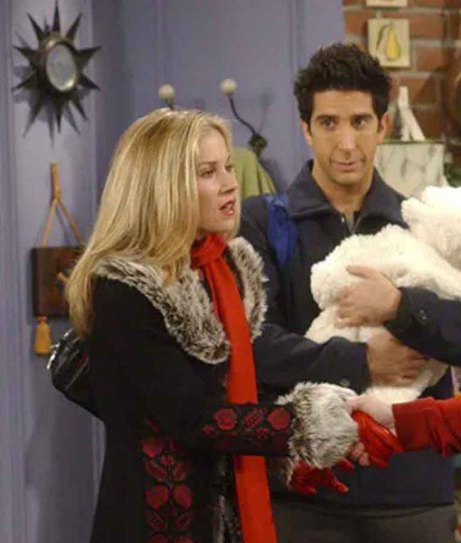 Christina Applegate FRIENDS Season 09 Amy Green Fur Collar Coat