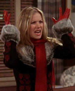 FRIENDS Season 09 Amy Green Fur Collar Coat