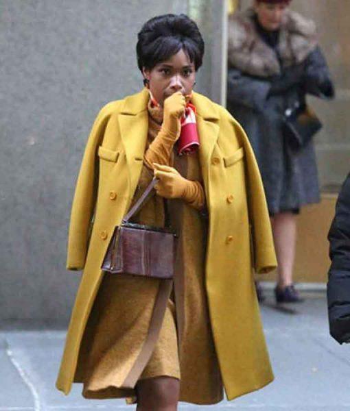 Respect 2021 Jennifer Hudson Yellow Mid-length Coat