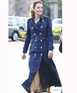 Kate Middleton Double-Breasted Tartan Coat