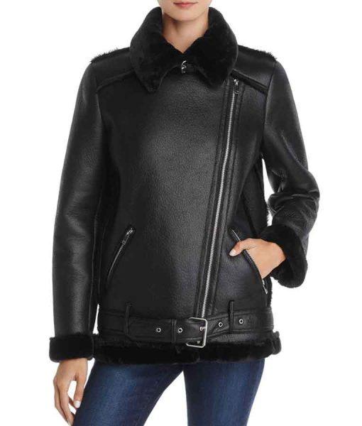 Lucifer s03 Lesley-Ann Brandt Shearling Moto Jacket