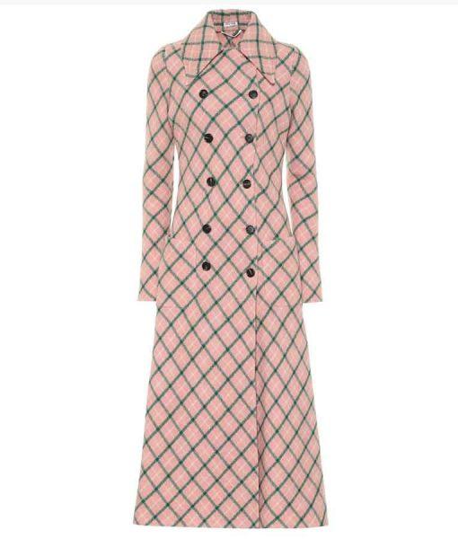Younger Season 07 Lauren Heller Pink Checked Long Coat