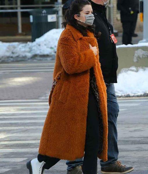Only Murders In The Building Selena Gomez Brown Fur Coat