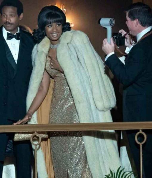 Aretha Franklin Respect 2021 Jennifer Hudson White Fur Coat