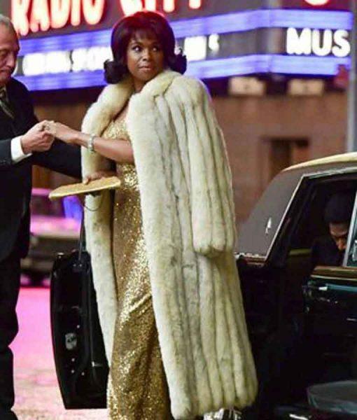 Respect 2021 Aretha Franklin White Fur Coat