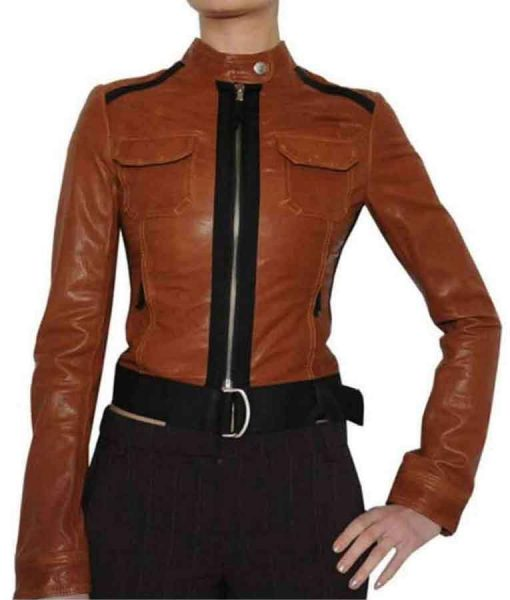 Crime Scene Investigation Catherine Willows Brown Leather Jacket