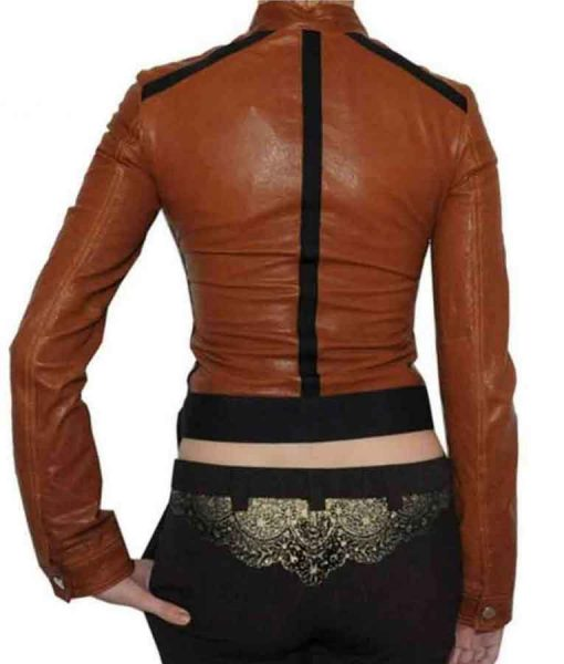 CSI Catherine Willows Brown Leather Cropped Jacket