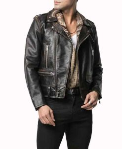 Dynasty S04 Sam Flores Black Distressed Leather Jacket