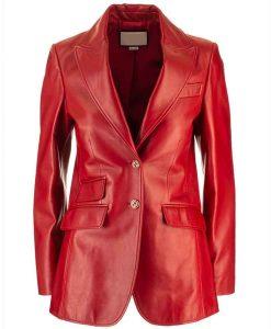 Elizabeth Gillies Dynasty Season 04 Fallon Carrington Red Leather Jacket