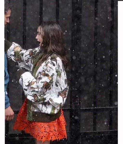 Lily Collins Emily in Paris Season 02 Bomber Jacket