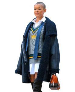 Jordan Alexander Gossip Girl 2021 Black Shearling Coat