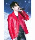 Joe Jungkook Red Leather Moto Jacket