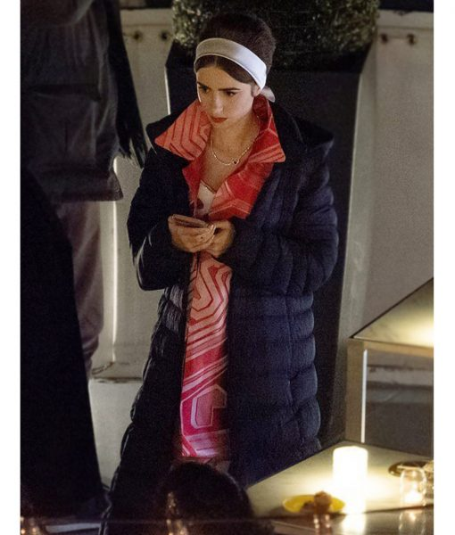 Emily in Paris Season 02 Emily Cooper Black Puffer Coat
