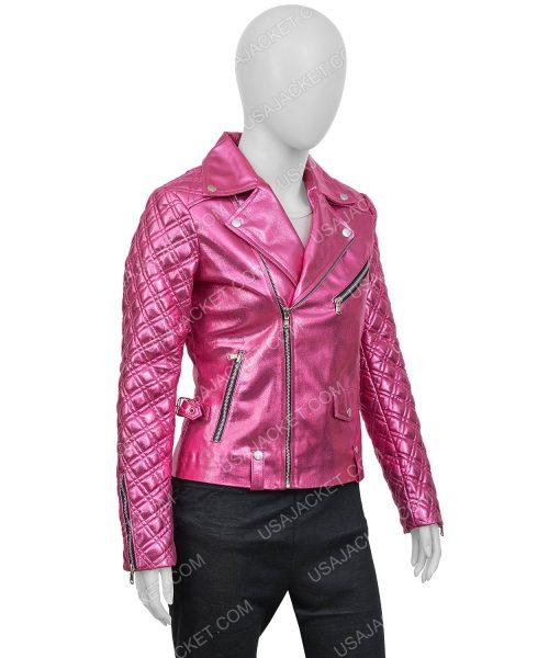 Sarah Shahi SexLife (2021) Billie Connelly Pink PU Leather Jacket