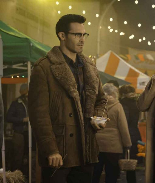 Superman and Lois Clark Kent Mid-length Coat With Shearling Collar