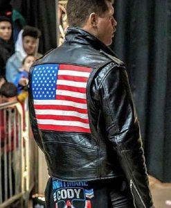 WWE Cody Rhodes US Flag Black Leather Jacket