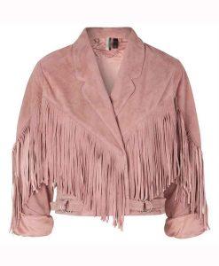 We Are Lady Parts Amina Suede Leather Fringe Jacket