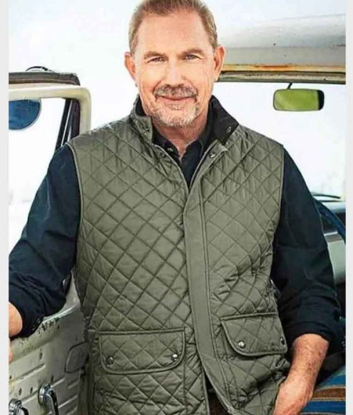 Yellowstone S04 Kevin Costner Green Quilted Vest