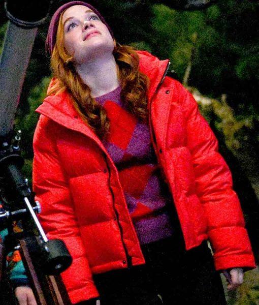 Zoey's Extraordinary Playlist S02 Zoey Red Puffer Jacket