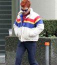KJ Apa Striped Puffer Jacket