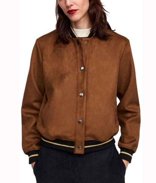 Kylie Rogers Suede Leather Home Before Dark Issy Lisko Bomber Jacket