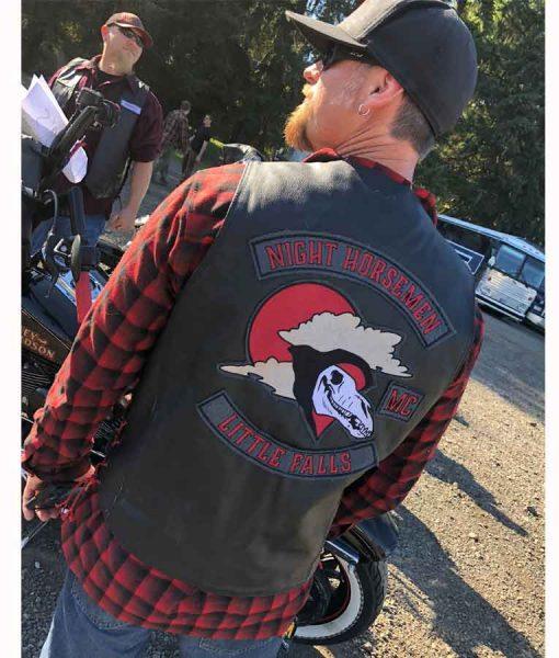 Pablo Schreiber Lorelei 2021 Wayland Black Leather Vest