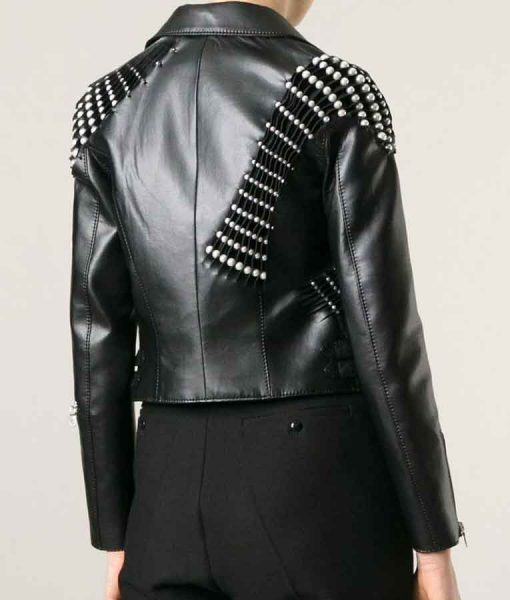 Real Housewives of Beverly Hills Erika GirardiPearl Pleated Leather Biker Jacket