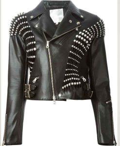RHOBH Erika GirardiPearl Pleated Biker Leather Jacket