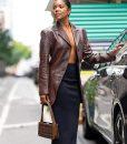 Gabrielle Union Brown Leather Blazer