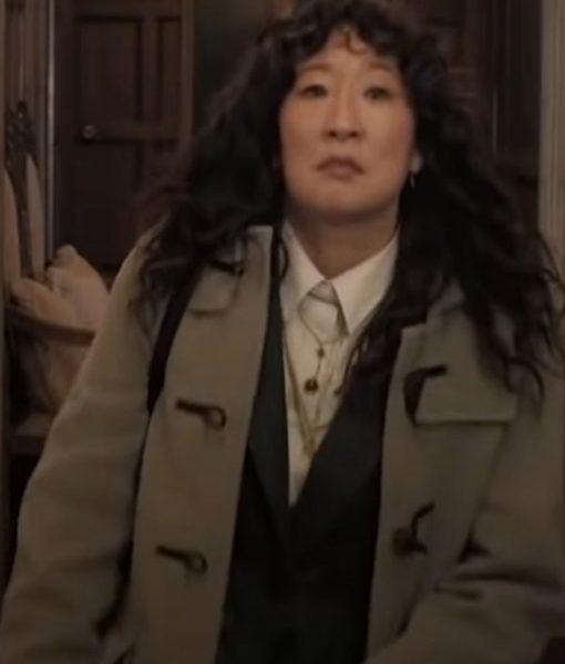 The Chair Sandra Oh Mid Length Grey Coat
