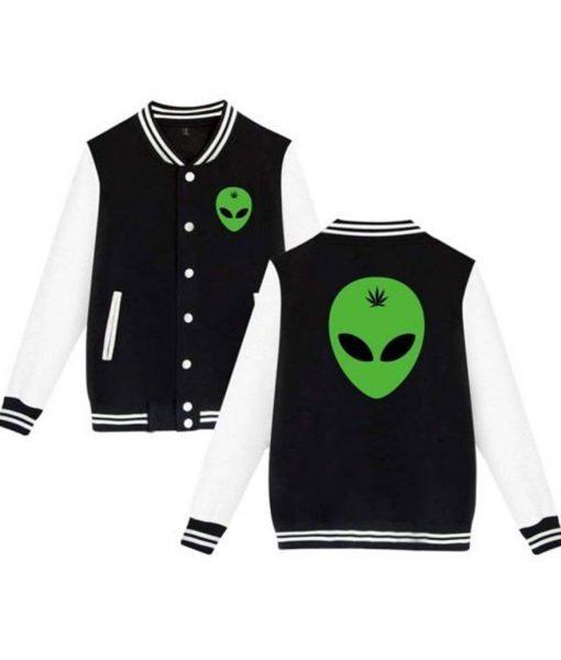 Alien Head Leaf Weed Varsity Jacket