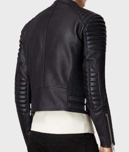 Mens Asymmetrical Black Bikers Padded Jacket