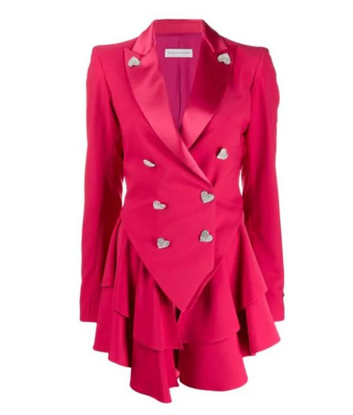 Ted Lasso Keeley's Pink Heart Button Blazer
