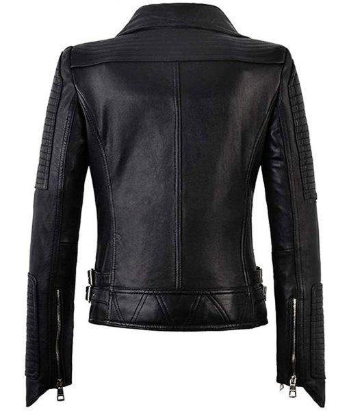 Women Slim Faux Leather Moto Jacket