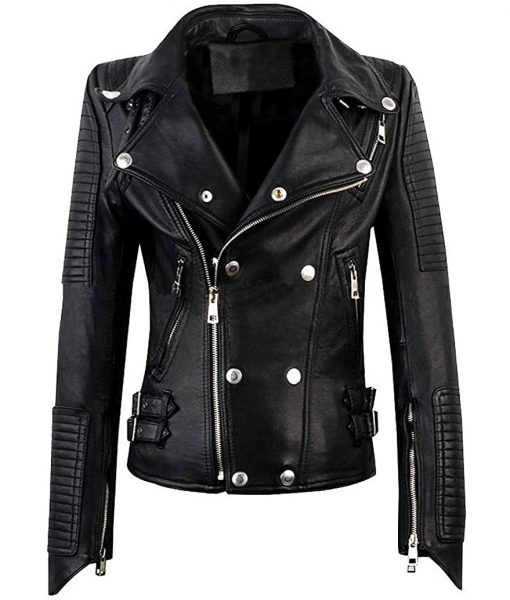 Women Slim Faux Leather Moto Biker Jacket